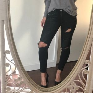Zara black distressed skinny jeans 4